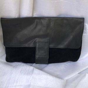 NWOT| ASOS| black suede and PU leather clutch